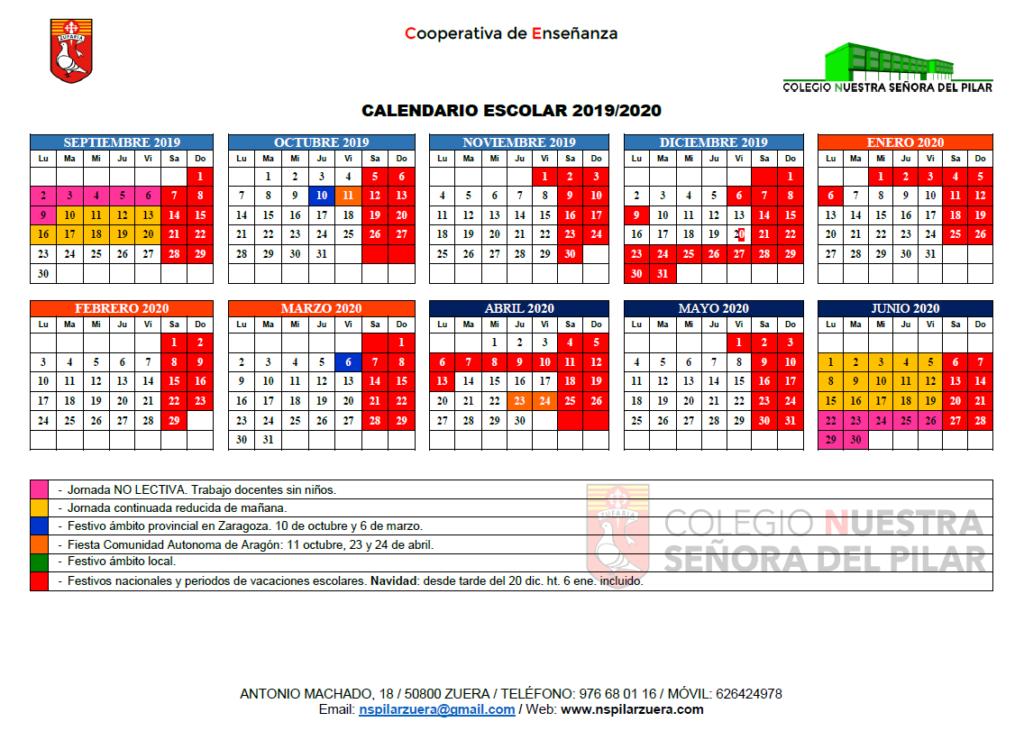 Aragon Calendario Escolar.Calendario Escolar 2019 2020 Ntra Sra Del Pilar Zuera